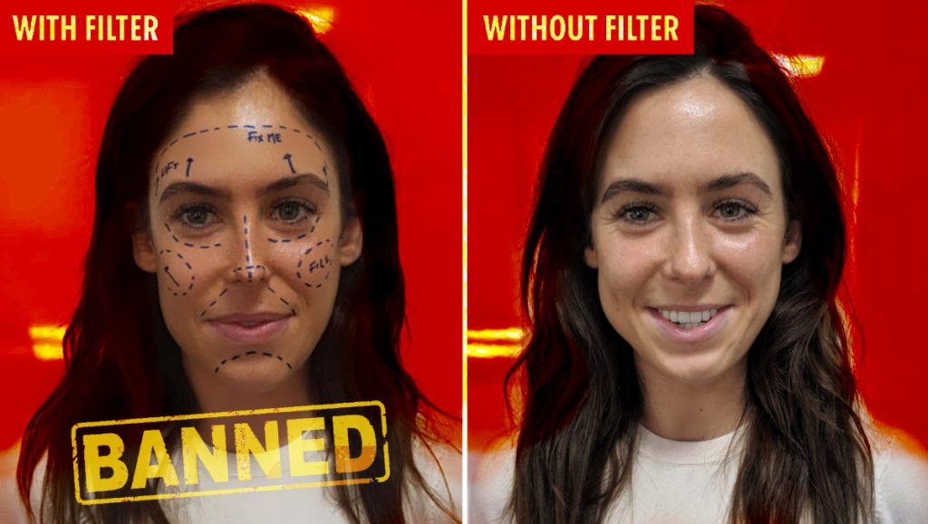 Woman using Instagram Plastic Surgery Filter